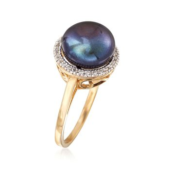 9.5-10mm Black Cultured Button Pearl and .10 ct. t.w. White Topaz Ring in 14kt Yellow Gold, , default
