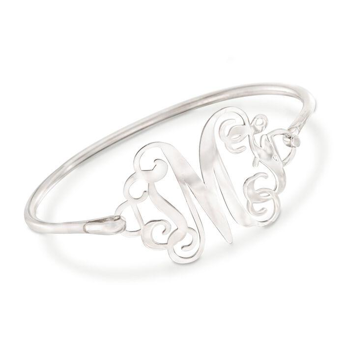 """Sterling Silver Monogram Bangle Bracelet. 7"""", , default"""