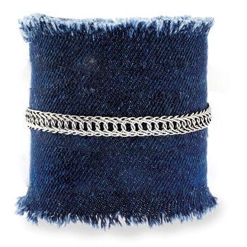14kt White Gold Double-Oval Link Bracelet