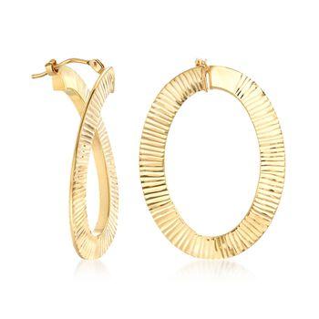"Italian 14kt Yellow Gold Ribbed Oval Hoop Earrings. 1 1/4"", , default"