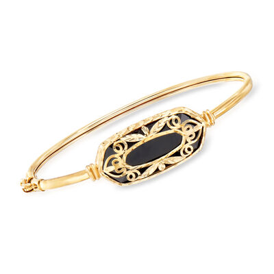 Black Onyx Openwork Overlay Bangle Bracelet in 14kt Yellow Gold, , default