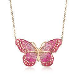 """Italian Pink Enamel and 18kt Yellow Gold Butterfly Necklace. 16"""", , default"""