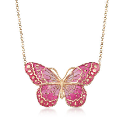 Italian Pink Enamel and 18kt Yellow Gold Butterfly Necklace, , default