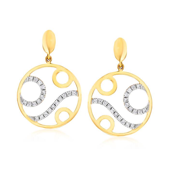 C. 1990 Vintage Piero Milano .36 ct. t.w. Diamond Circle Drop Earrings in 18kt Yellow Gold, , default