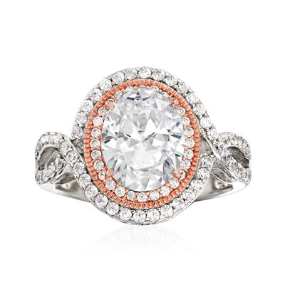 3.69 ct. t.w. CZ Ring in Sterling Silver and 18kt Rose Gold Over Sterling, , default
