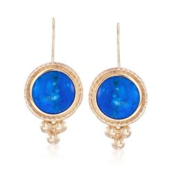 Blue Howlite Drop Earrings in 14kt Yellow Gold, , default
