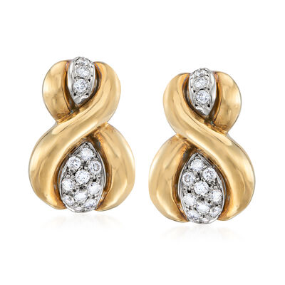 C. 1980 Vintage 1.30 ct. t.w. Diamond Figure 8 Earrings in 14kt Yellow Gold