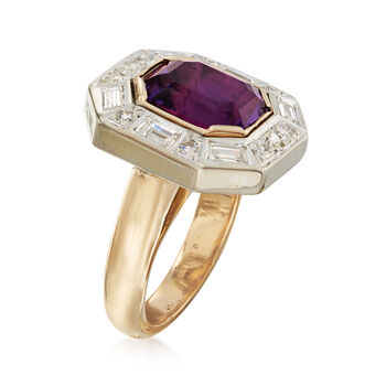 C. 1980 Vintage 4.95 Carat Amethyst and 1.10 ct. t.w. Diamond Ring in 14kt Yellow Gold. Size 5.5, , default