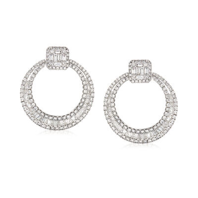 3.88 ct. t.w. Baguette and Round Diamond Doorknocker Earrings in 18kt White Gold