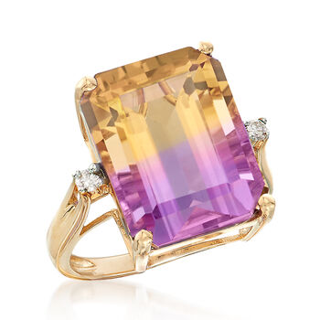 11.00 Carat Ametrine Ring with Diamond Accents in 14kt Yellow Gold, , default