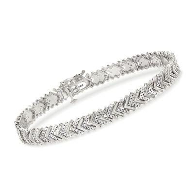 1.00 ct. t.w. Diamond Chevron Bracelet in Sterling Silver, , default