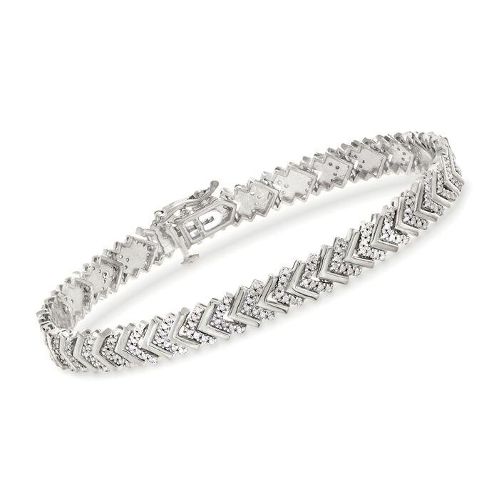 """1.00 ct. t.w. Diamond Chevron Bracelet in Sterling Silver. 7"""", , default"""