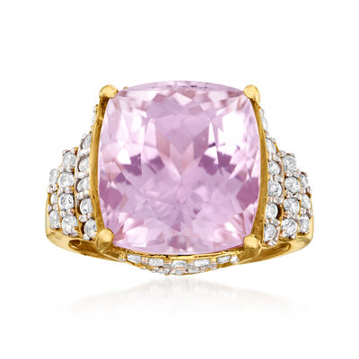 13.00 Carat Kunzite and .90 ct. t.w. White Zircon Ring in 14kt Yellow Gold, , default