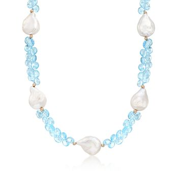 15-16mm Cultured Baroque Pearl and 90.00 ct. t.w. Blue Topaz Necklace With 14kt Yellow Gold , , default