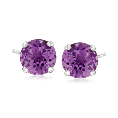 1.50 ct. t.w. Amethyst Stud Earrings in 14kt White Gold
