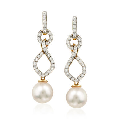 8.5-9mm Cultured Akoya Pearl and .60 ct. t.w. Diamond Drop Earrings in 14kt Yellow Gold, , default