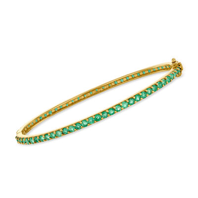 4.95 ct. t.w. Emerald Bangle Bracelet in 18kt Gold Over Sterling