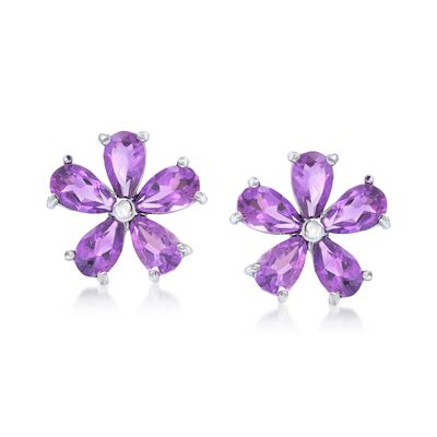 2.00 ct. t.w. Amethyst Flower Earrings in Sterling Silver, , default