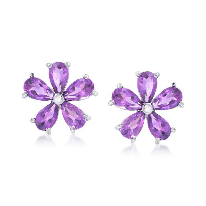 2.00 ct. t.w. Amethyst Flower Earrings in Sterling Silver, , default