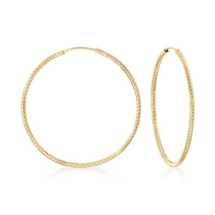 "Medium 14kt Yellow Gold Twisted-Style Hoop Earrings. 1 5/8"", , default"