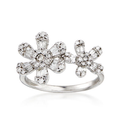 .60 ct. t.w. Diamond Flower Ring in 14kt White Gold