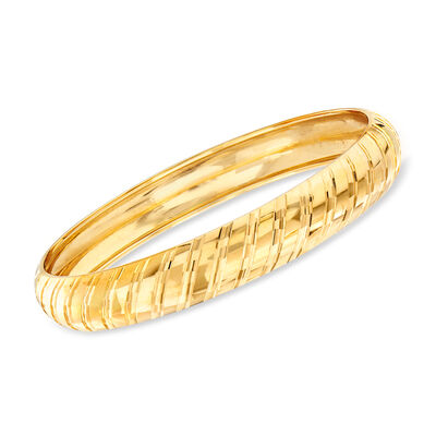Italian Striped Bangle Bracelet in 14kt Yellow Gold, , default