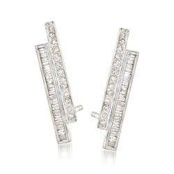 .33 ct. t.w. Diamond Double Bar Earrings in Sterling Silver, , default