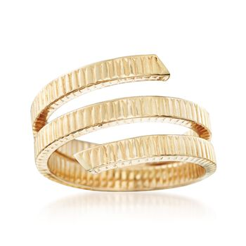 Italian 14kt Yellow Gold Ribbed Coil Ring, , default