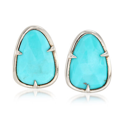 Stabilized Turquoise Earrings in Sterling Silver, , default