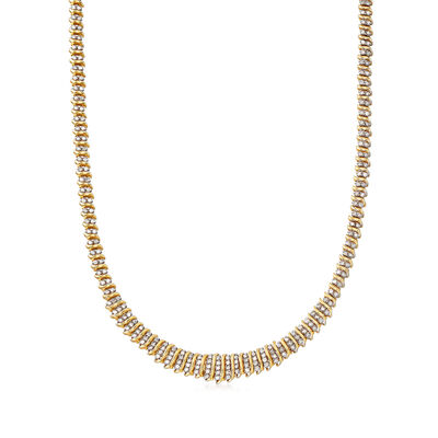 C. 1980 Vintage 4.00 ct. t.w. Diamond S-Link Tennis Necklace in 10kt Yellow Gold, , default