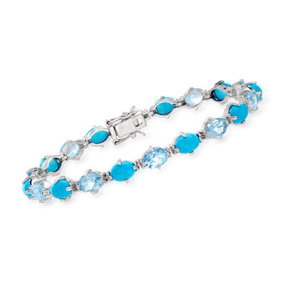 Turquoise and 8.00 ct. t.w. Sky Blue Topaz Tennis Bracelet in Sterling Silver