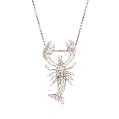 "Roberto Coin ""Tiny Treasures"" Diamond-Accented Lobster Necklace in 18kt White Gold"