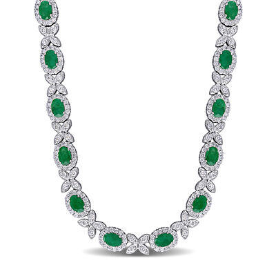 6.02 ct. t.w. Emerald and 4.26 ct. t.w. Diamond Flower Necklace in 18kt White Gold