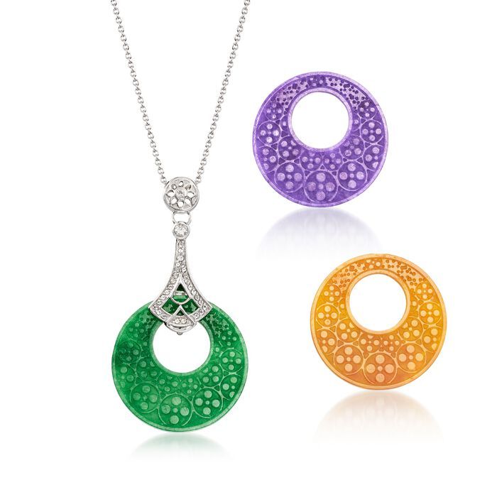 Multicolored Interchangeable Jade Disc Pendant Necklace with .30 ct. t.w. White Topaz in Sterling Silver, , default