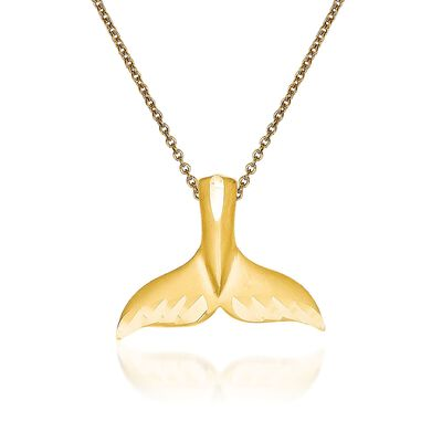 14kt Yellow Gold Whale Tail Pendant Necklace, , default