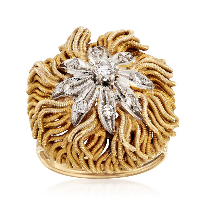 C. 1970 Vintage .30 ct. t.w. Diamond Floral Ring in 18kt Yellow Gold. Size 6.5, , default