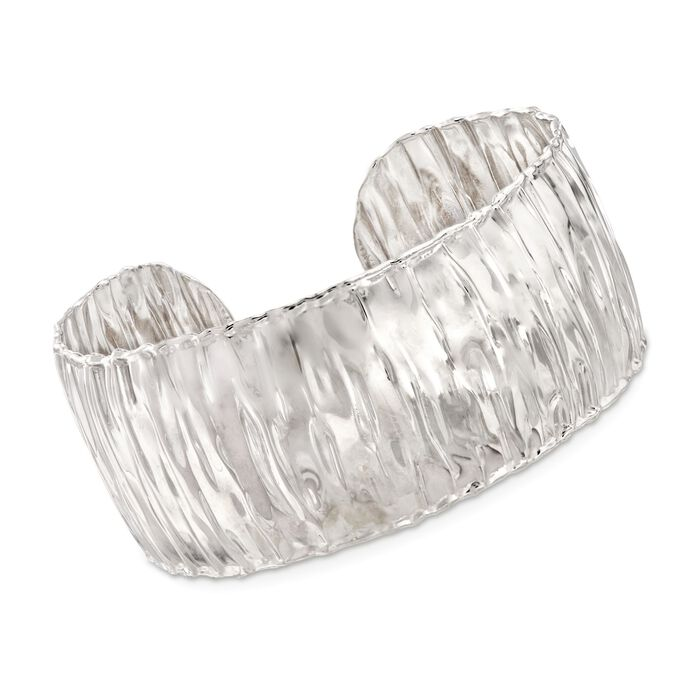 """Italian Sterling Silver Wide Wavy Cuff Bracelet. 7.5"""""""
