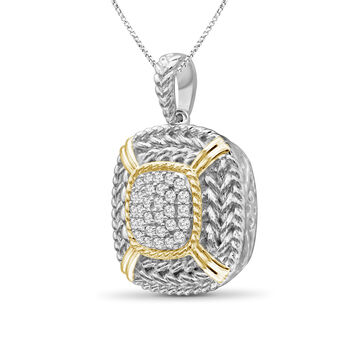 """.25 ct. t.w. Diamond Cluster and Roped Frame Necklace in Two-Tone Sterling. 18"""", , default"""