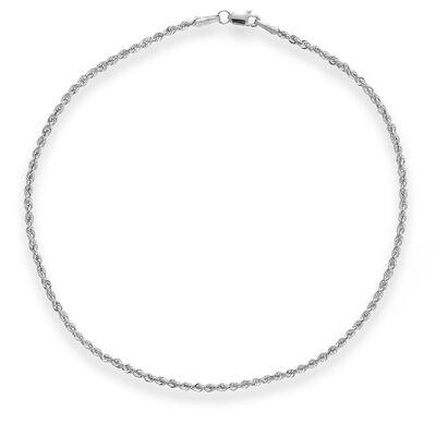 14kt White Gold Hollow Rope Anklet, , default