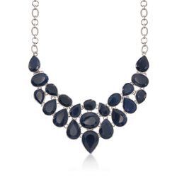 "66.00 ct. t.w. Sapphire Bib Necklace in Sterling Silver. 17"", , default"