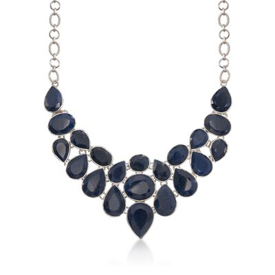 66.00 ct. t.w. Sapphire Bib Necklace in Sterling Silver, , default