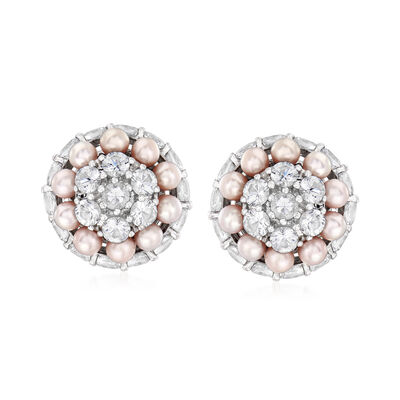 C. 1990 Vintage Mimi Milano 3mm Violet Cultured Pearl and 5.50 ct. t.w. White Sapphire Cluster Earrings in 18kt White Gold, , default