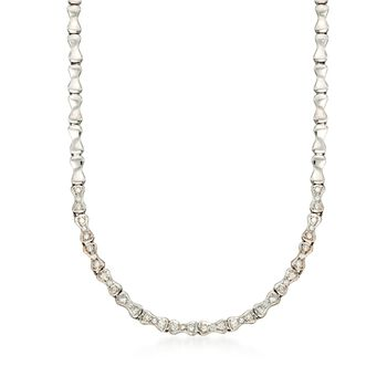 "C. 1970 Vintage 1.10 ct. t.w. Fancy Link Diamond Necklace in 18kt White Gold. 17"", , default"