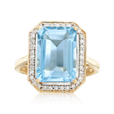 6.25 Carat Blue Topaz Ring with .23 ct. t.w. Diamonds in 14kt Yellow Gold, , default