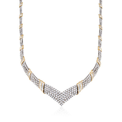 C. 1980 Vintage 9.25 ct. t.w. Diamond V-Shape Necklace in 14kt Two-Tone Gold