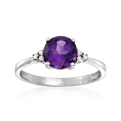 1.10 Carat Amethyst  Ring with Diamond Accents in 14kt White Gold, , default