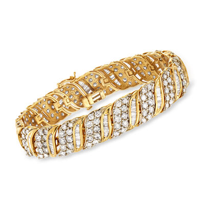 10.00 ct. t.w. Round and Baguette Diamond Bracelet in 14kt Yellow Gold