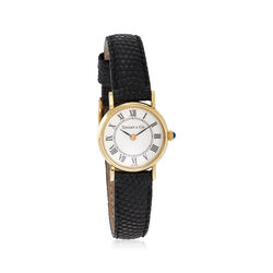 C. 1990 Vintage Tiffany Jewelry Women's 12mm 14kt Yellow Gold Watch With Black Leather, , default