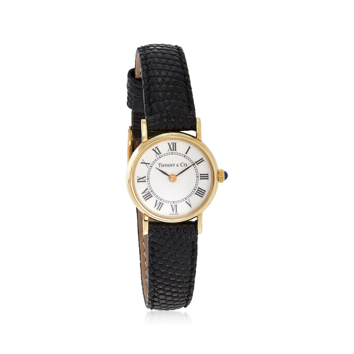 C. 1990 Vintage Tiffany Jewelry Women's 12mm 14kt Yellow Gold Watch with Black Leather. Size 7, , default