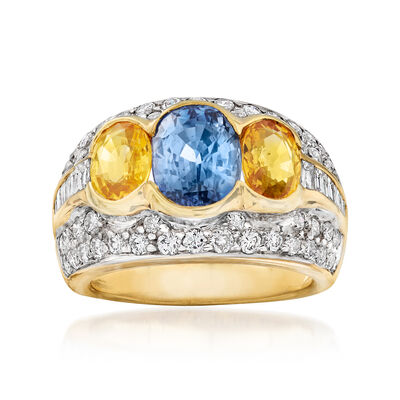C. 1990 Vintage 5.19 ct. t.w. Blue and Yellow Sapphire and 1.95 ct. t.w. Diamond Ring in 18kt Yellow Gold, , default